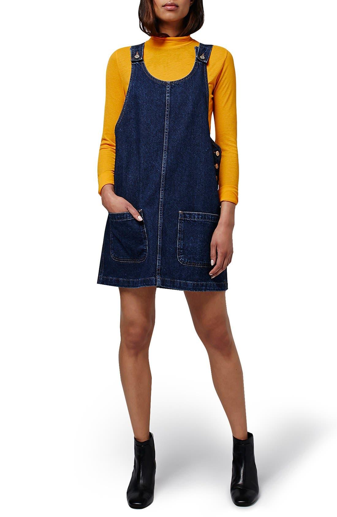 Alternate Image 1 Selected - Topshop Patch Pocket Denim Pinafore Dress