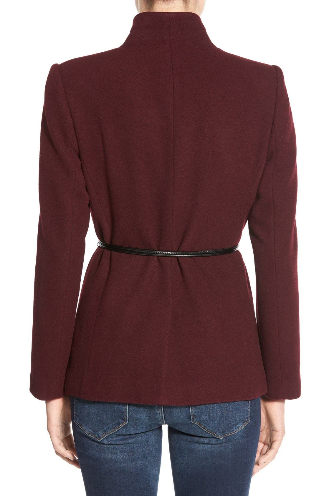 Alternate Image 2  - Halogen® Belted Short Wool Blend Coat (Regular & Petite)