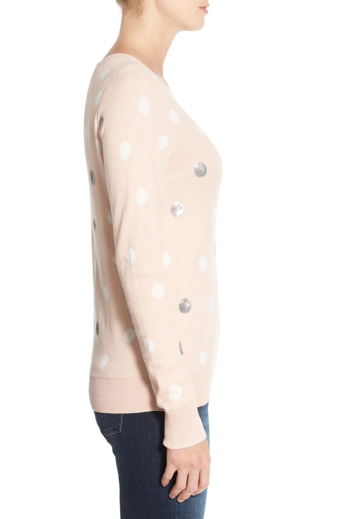 Alternate Image 3  - Halogen® Lace Appliqué Crewneck Sweater (Regular & Petite)