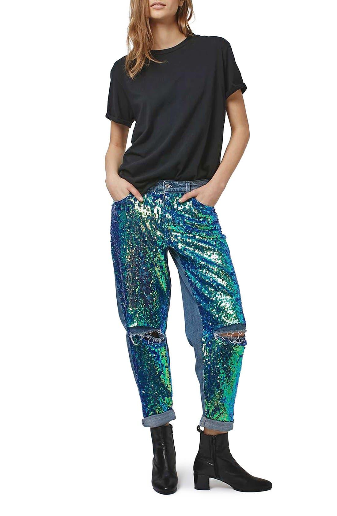 Alternate Image 2  - Topshop Mermaid Sequin Boyfriend Jeans