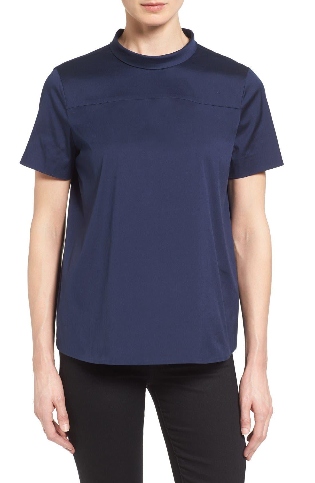 Alternate Image 2  - Halogen® Tie Back Short Sleeve Poplin Blouse (Regular & Petite)