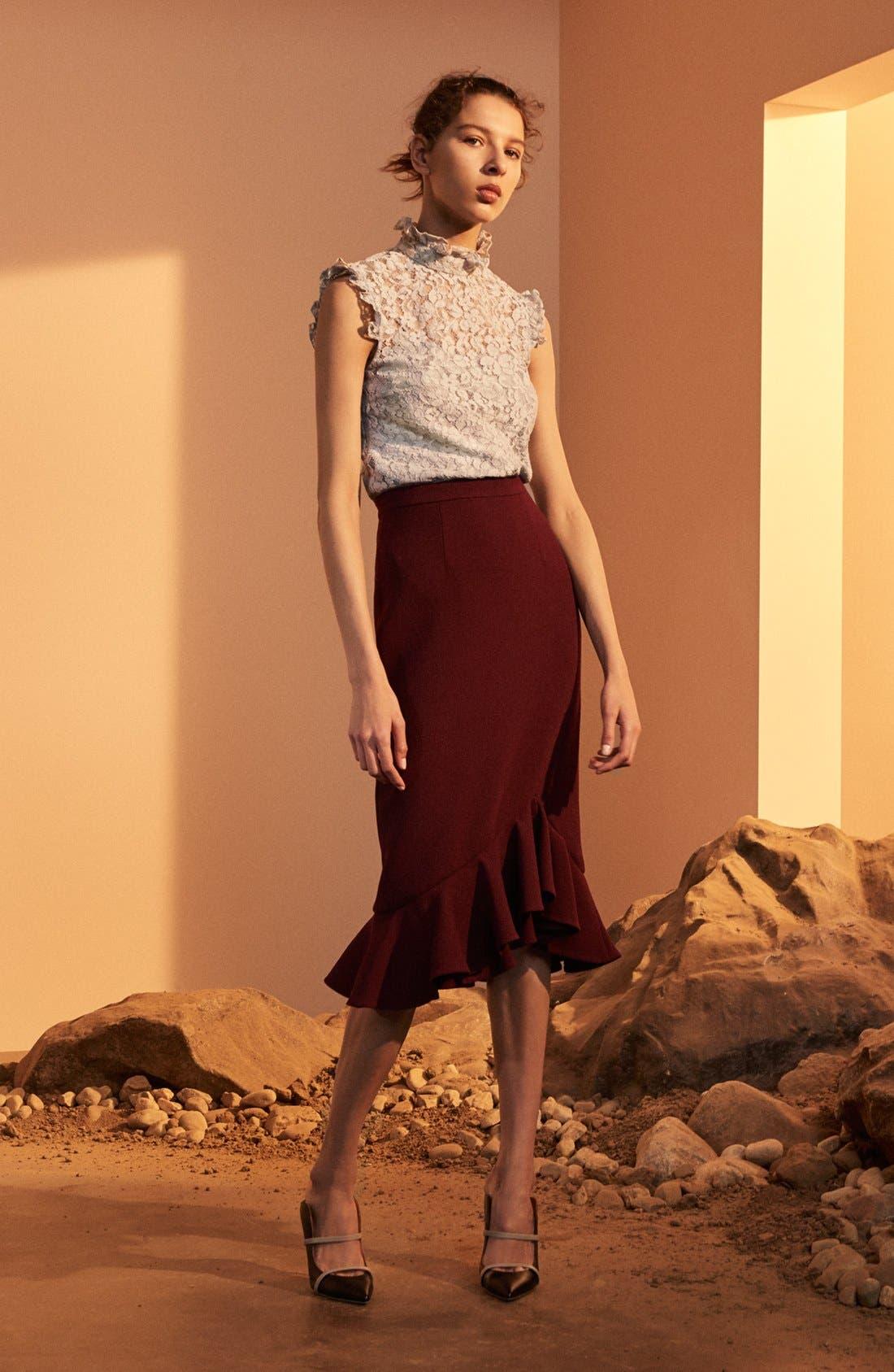 Alternate Image 7  - Erdem 'Joss' Wool Crepe Asymmetric Ruffle Hem Skirt