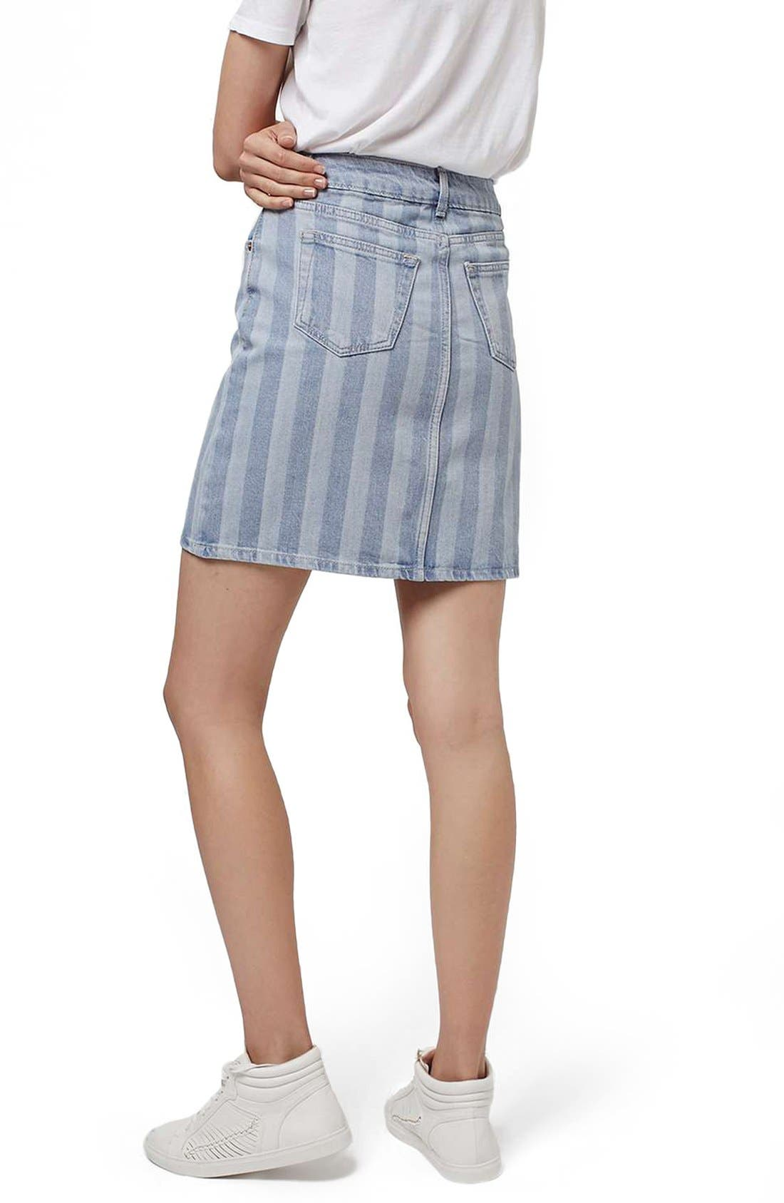 Alternate Image 3  - Topshop Stripe Denim Skirt
