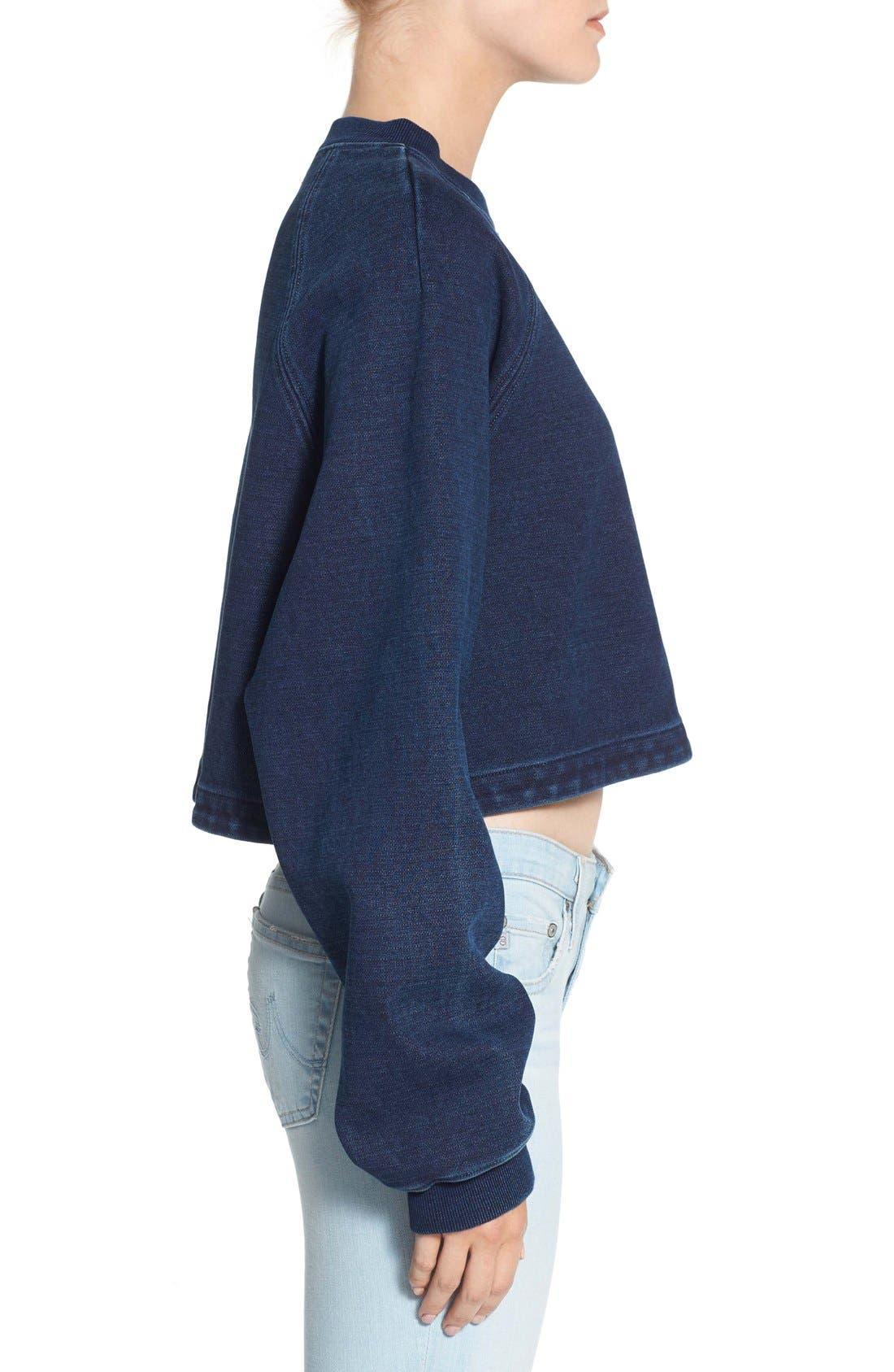 Alternate Image 3  - AG Indigo Capsule Collection Cubo Crop Sweatshirt