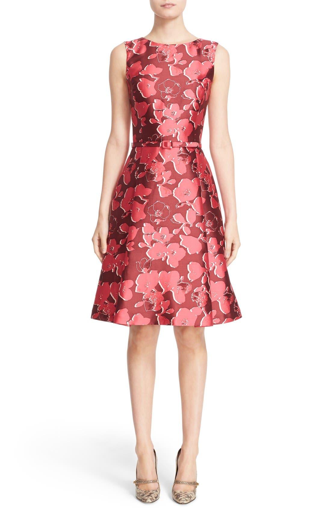 Alternate Image 1  - Oscar de la Renta Floral Print Silk Blend Mikado Fit & Flare Dress