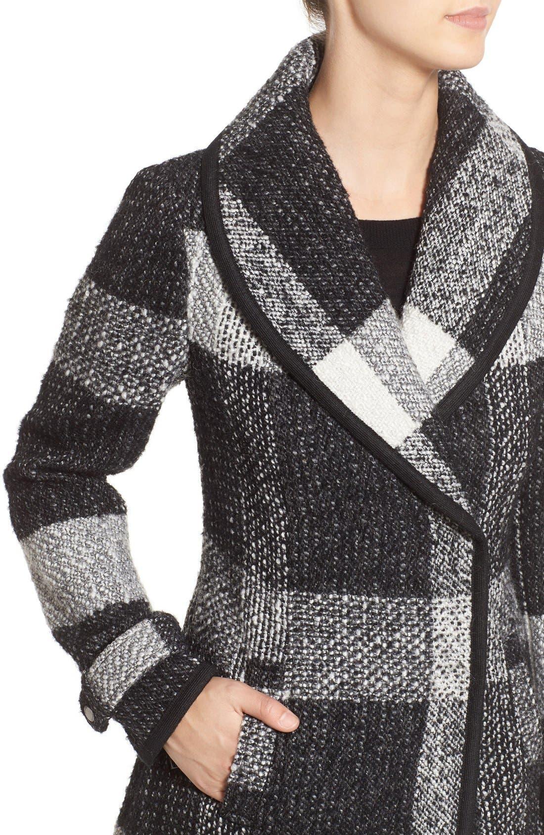 Alternate Image 4  - GUESS Shawl Collar Plaid Coat