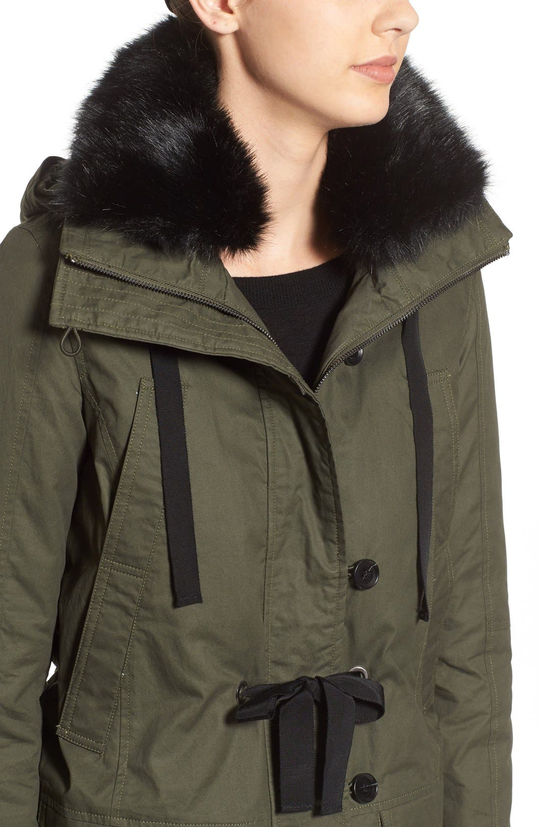 Alternate Image 4  - French Connection Hooded Parka With Faux Fur Trim