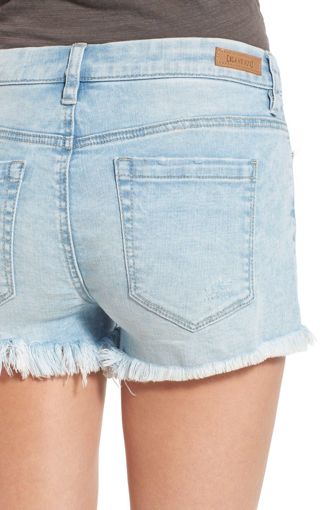 Alternate Image 4  - BLANKNYC 'Emoji Fatigue' Denim Cutoff Shorts