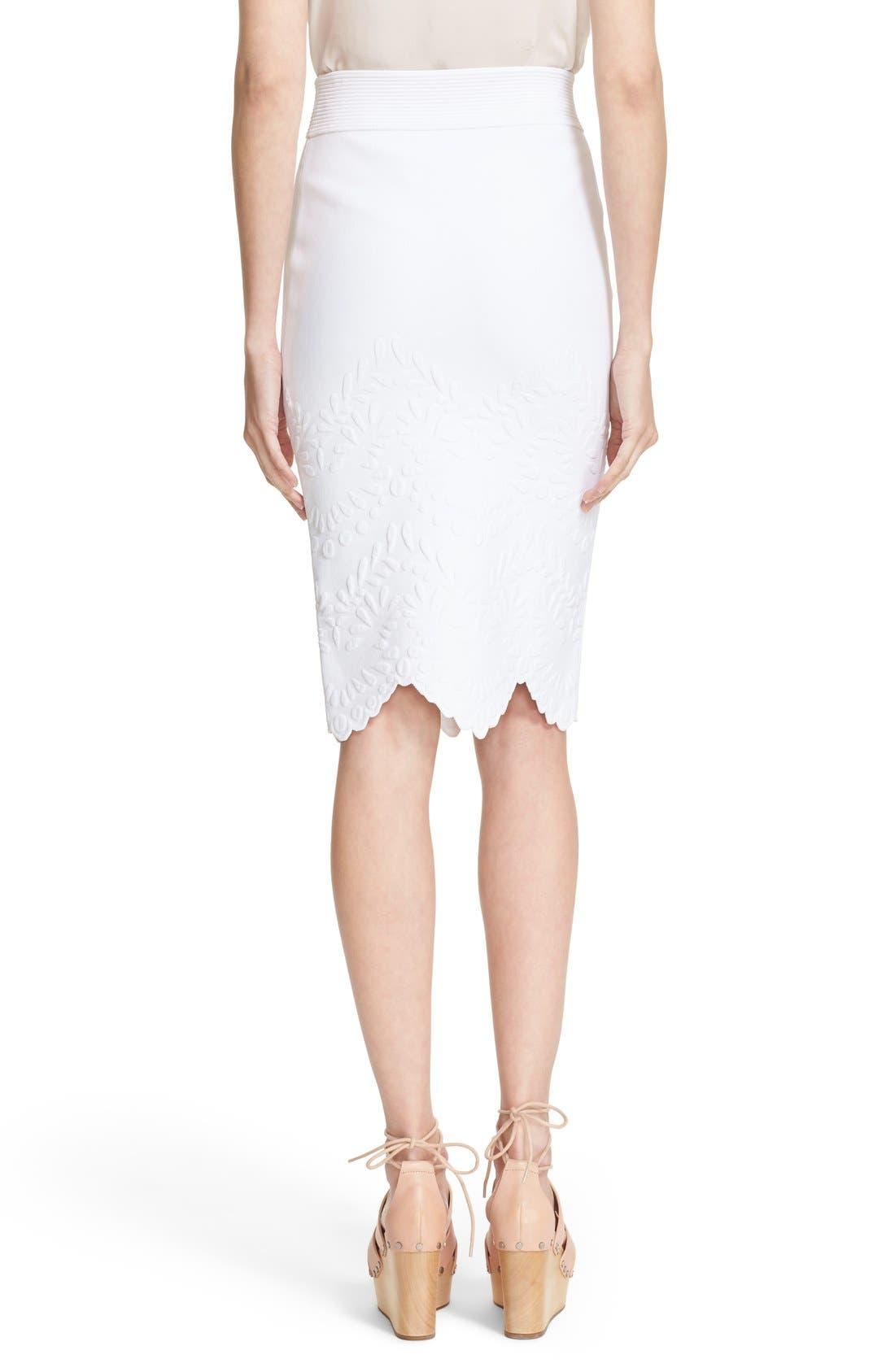 Alternate Image 2  - Alexander McQueen Embossed Jacquard Knit Pencil Skirt