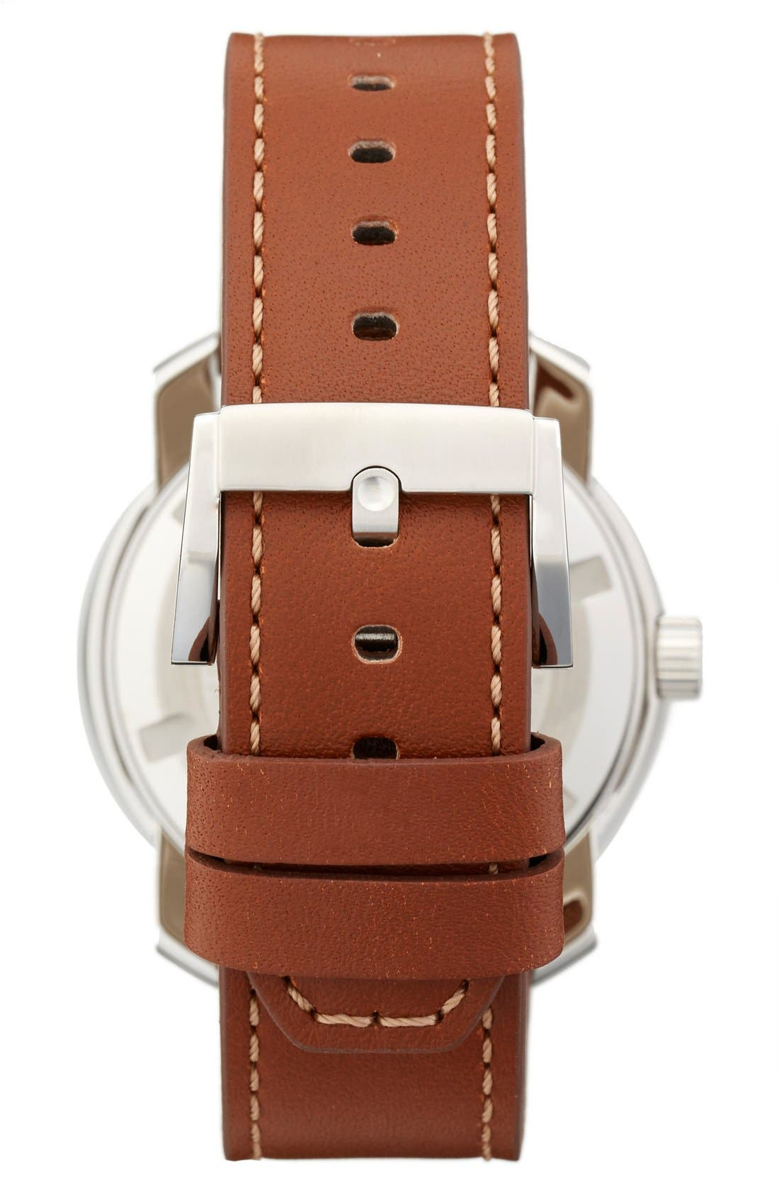 Alternate Image 2  - Movado 'Bold' Crystal Accent Leather Strap Watch, 42mm