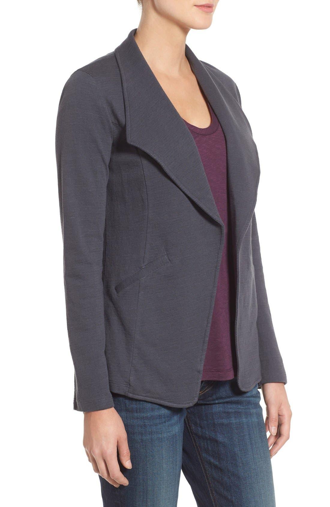 Alternate Image 3  - Caslon® Cotton Knit Open Front Blazer (Regular & Petite)