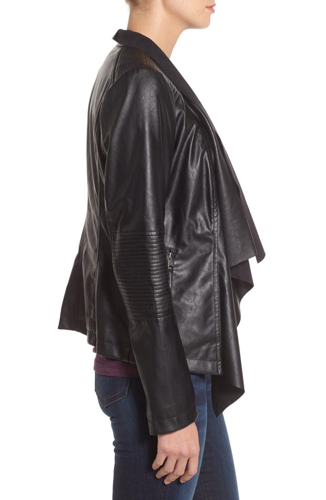 Alternate Image 3  - Levi's® Drape Front Faux Leather Jacket