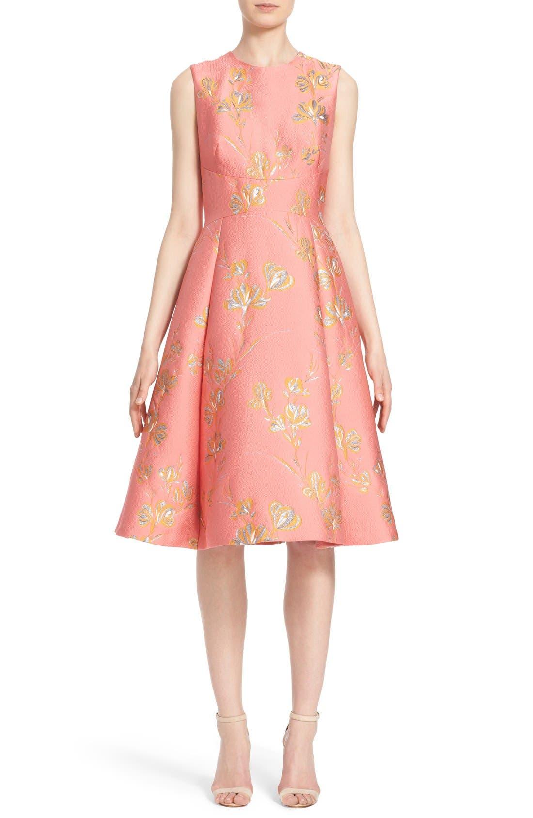Alternate Image 1  - Lela Rose Vine Jacquard Fit & Flare Dress