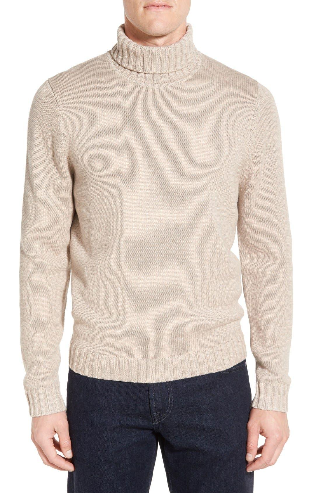 Main Image - Nordstrom Men's Shop Chunky Turtleneck Sweater (Regular & Tall)