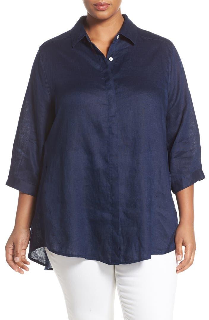 Foxcroft A Line Linen Tunic Shirt Plus Size Nordstrom