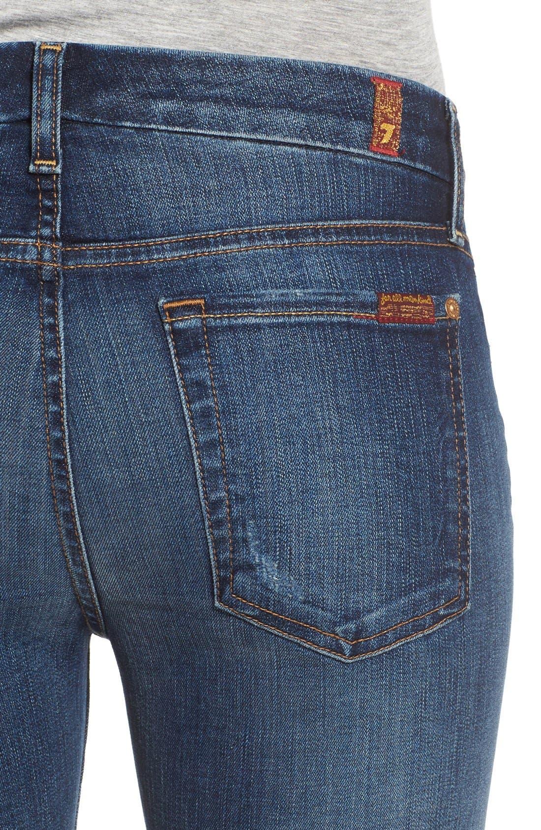 Alternate Image 4  - 7 For All Mankind® Destroyed Skinny Jeans (Dark Vintage Blue)
