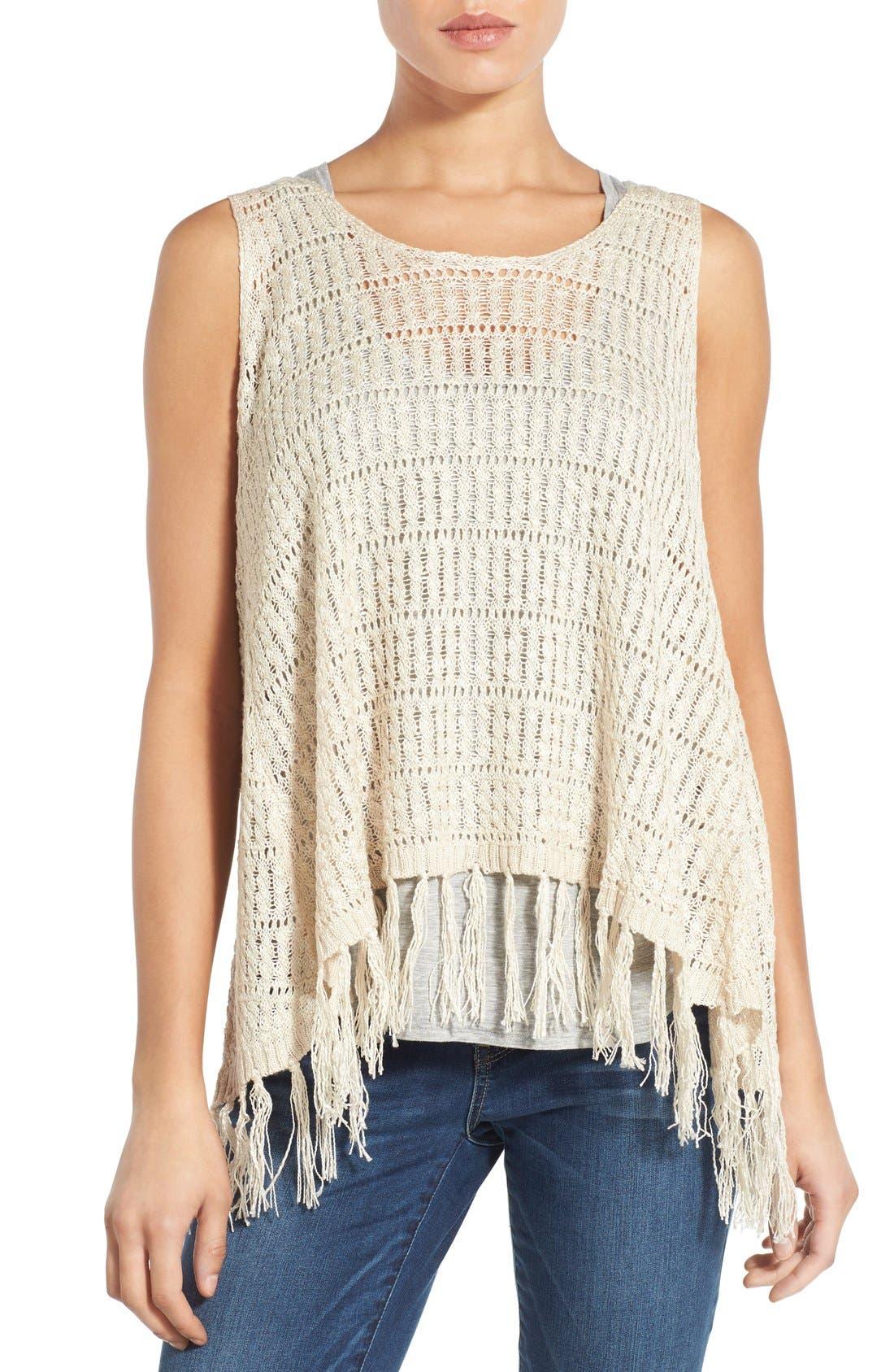 Alternate Image 1 Selected - Wit & Wisdom Fringed Split Back Open Weave Sweater (Nordstrom Exclusive)