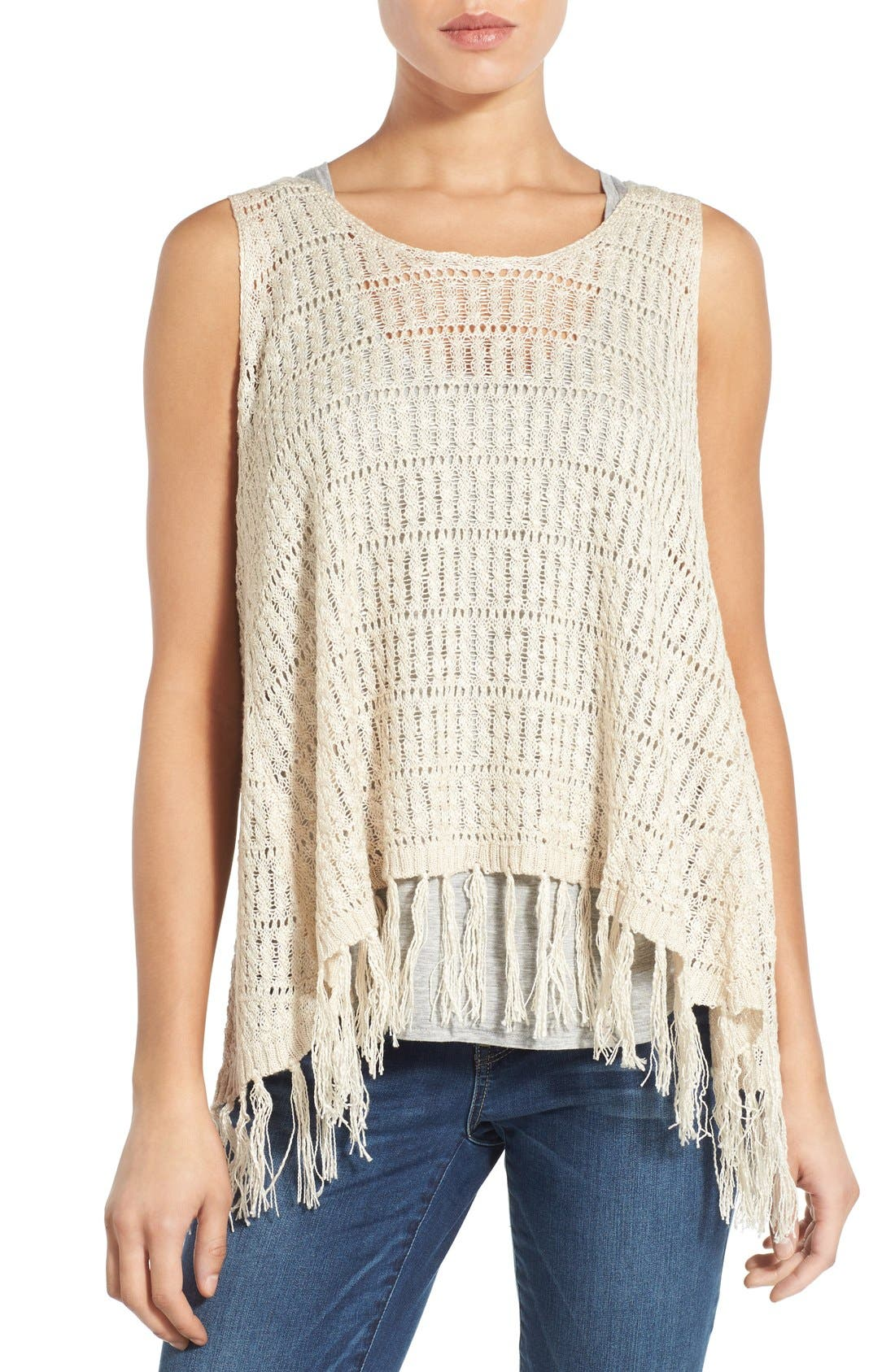 Main Image - Wit & Wisdom Fringed Split Back Open Weave Sweater (Nordstrom Exclusive)