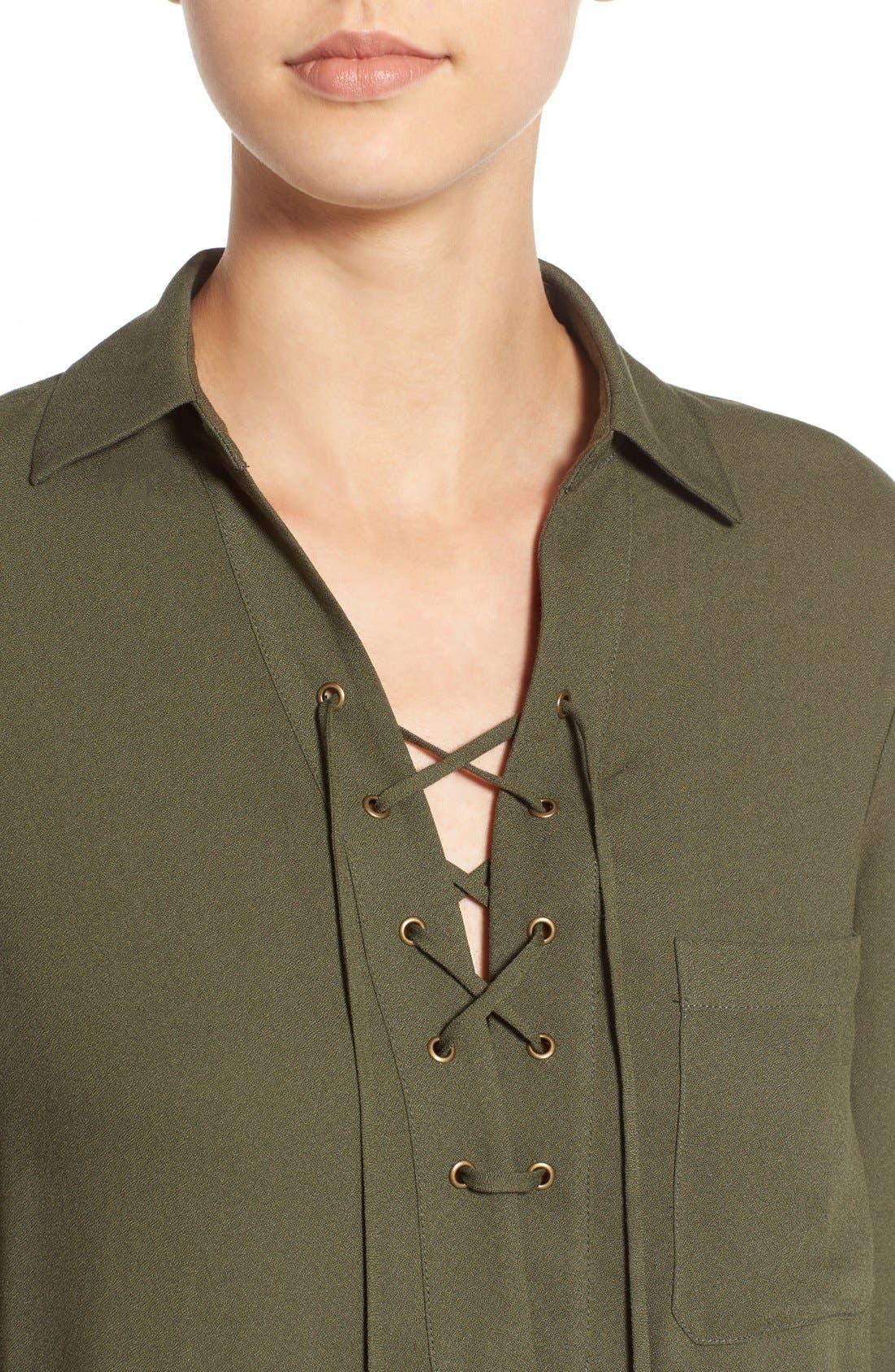 Alternate Image 4  - WAYF Lace-Up Shirtdress