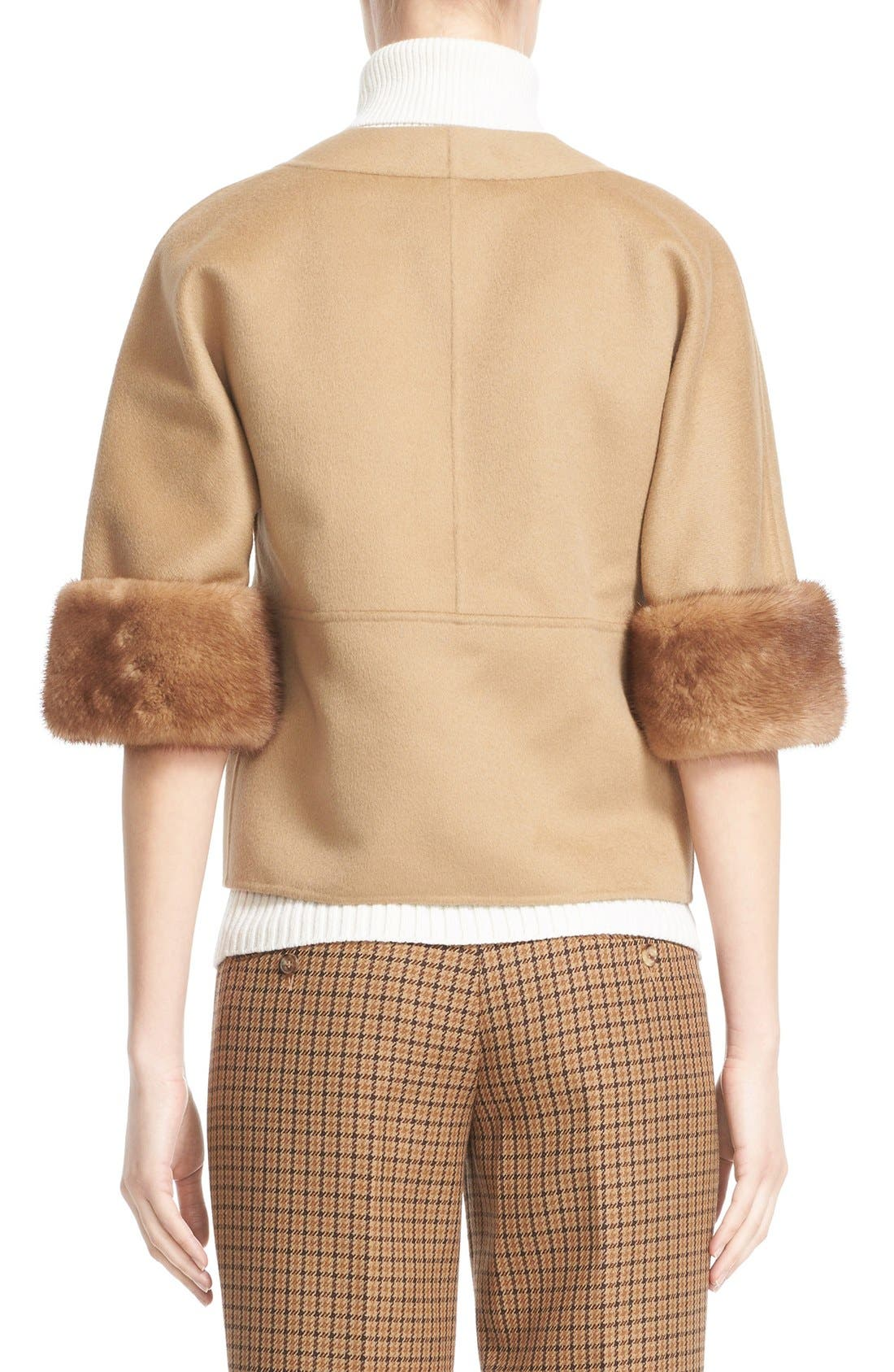 Alternate Image 2  - Michael Kors Genuine Mink Fur Cuff Wool Blend Jacket