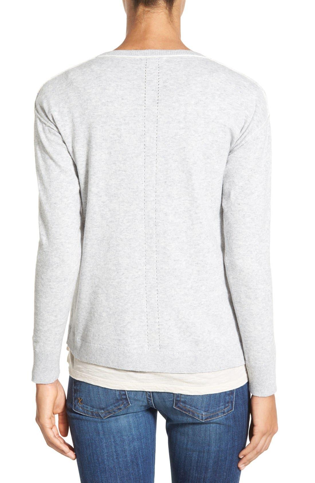 Alternate Image 2  - Caslon® Relaxed Long Sleeve Sweater (Regular & Petite)