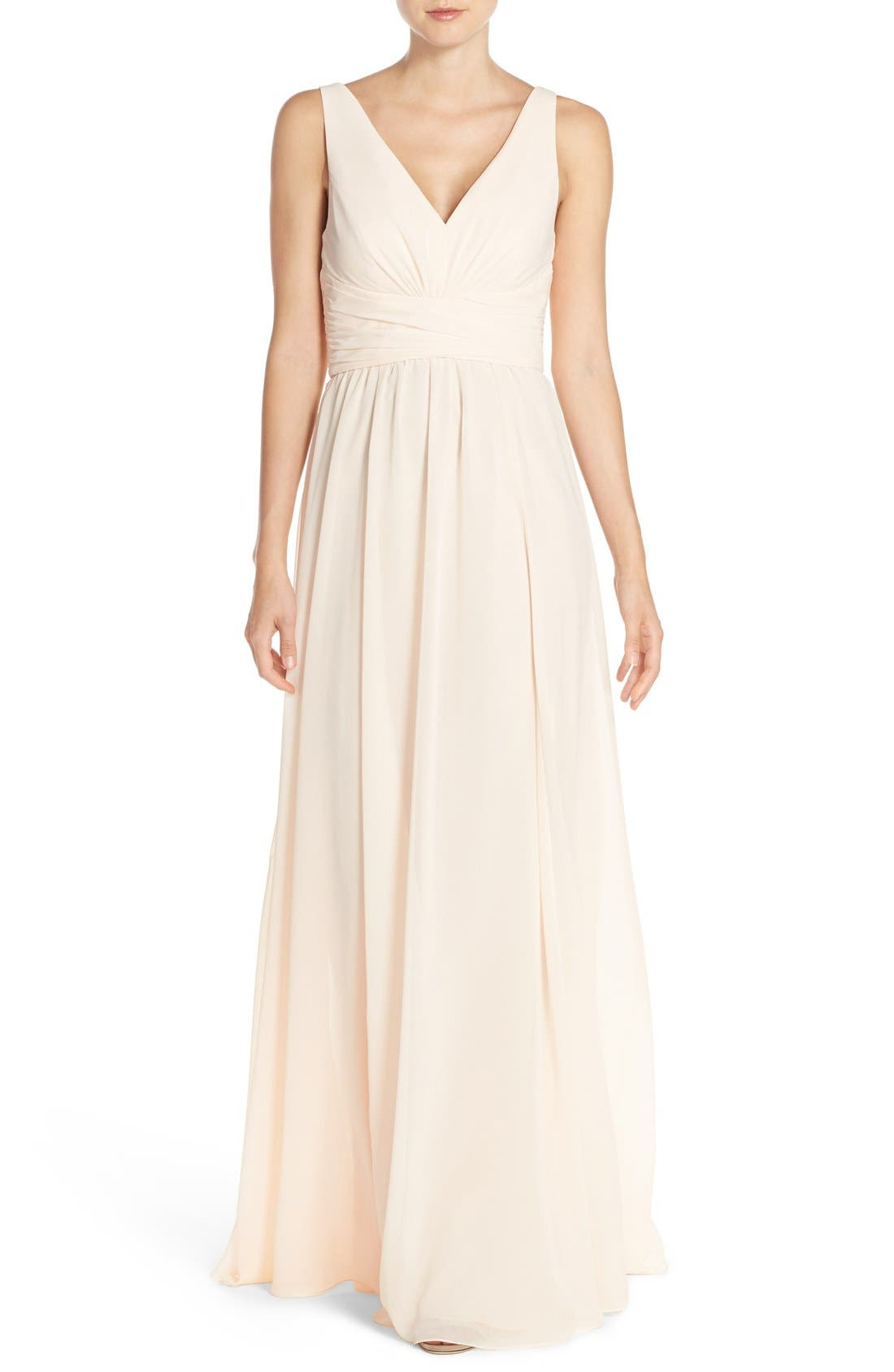 Amsale 'Justine' Double V-Neck Chiffon Gown
