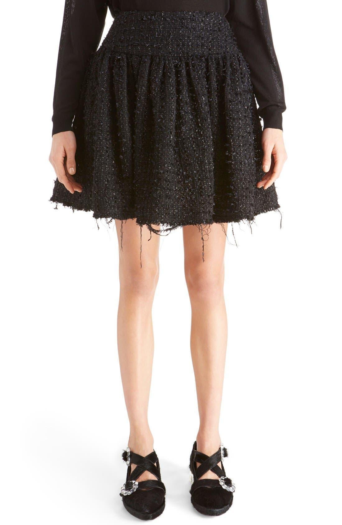 Main Image - Simone Rocha Gathered Tweed Miniskirt