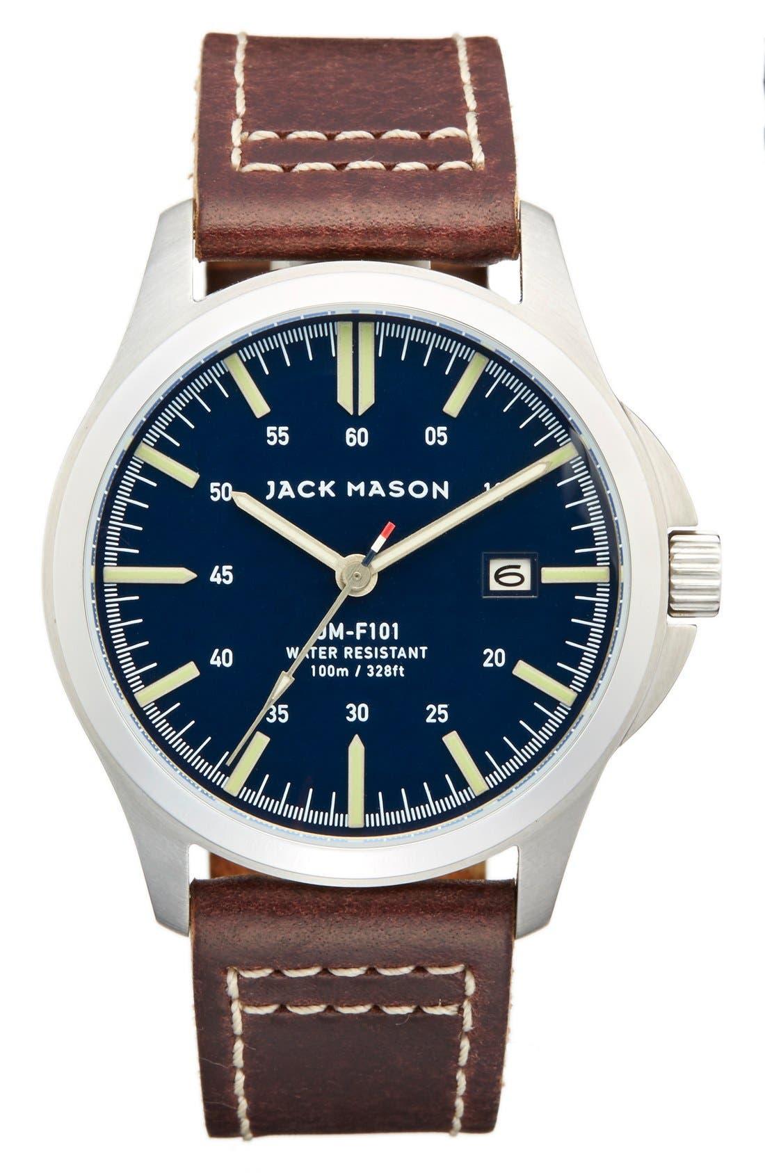 JACK MASON Field Leather Strap Watch, 42mm