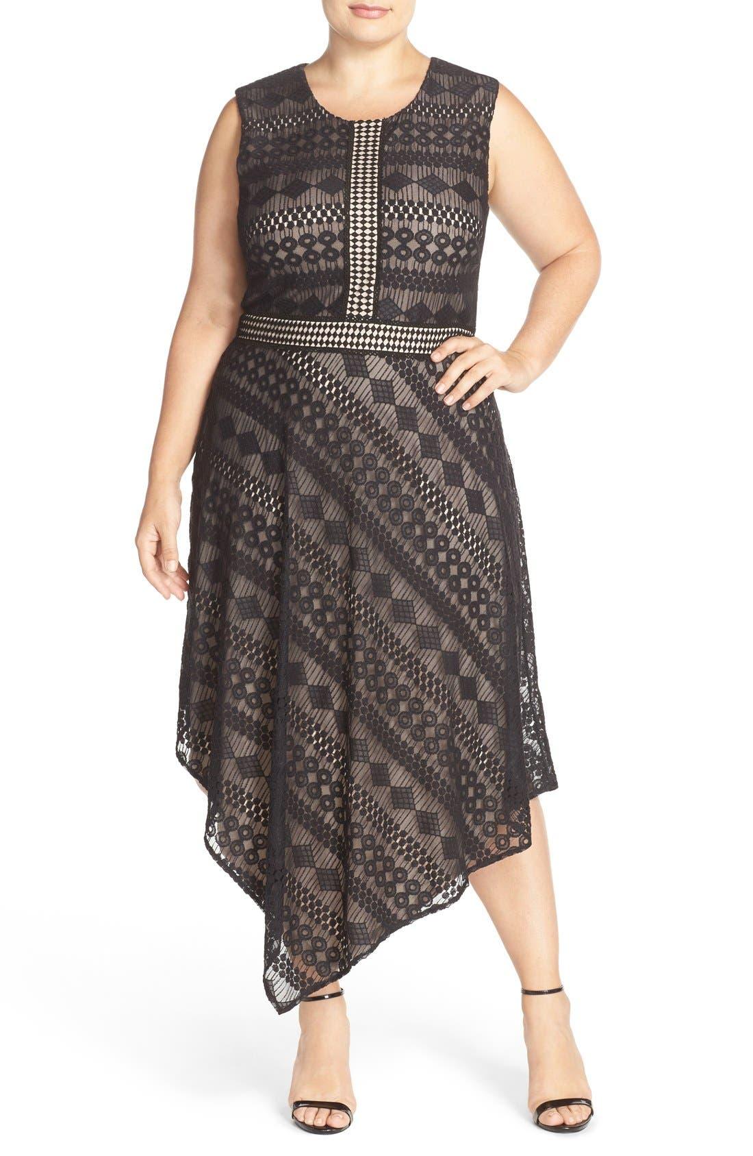 Alternate Image 1 Selected - London Times Geo Stripe Lace Asymmetrical Hem Dress (Plus Size)