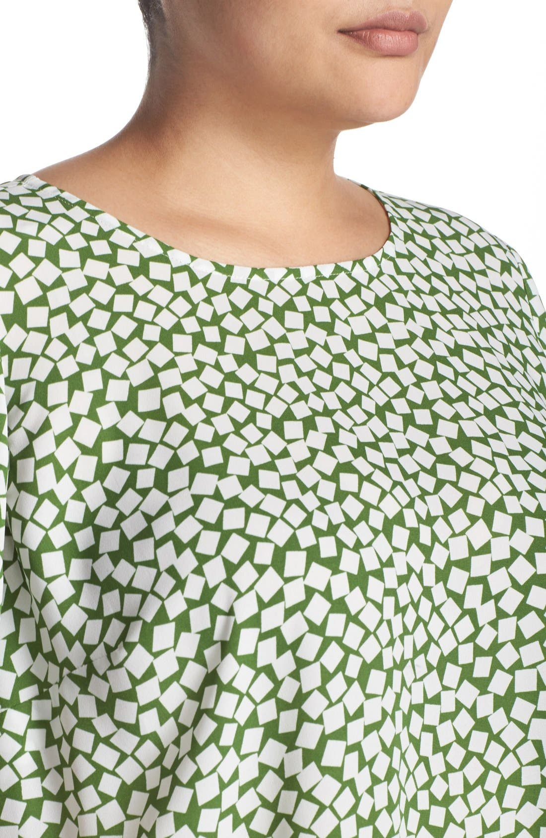 Alternate Image 4  - Vince Camuto 'Falling Cubes' Print Short Sleeve High/Low Blouse (Plus Size)