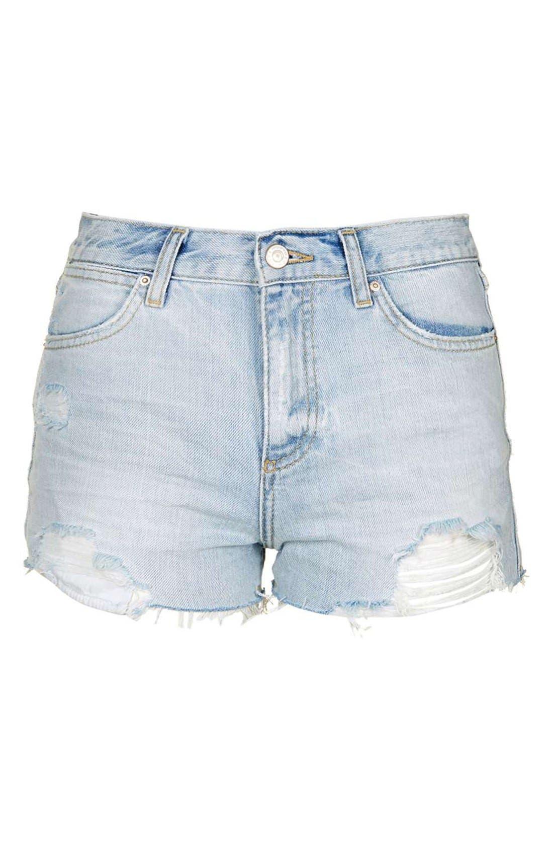 Alternate Image 4  - Topshop 'Rosa' Cutoff Denim Shorts (Petite)