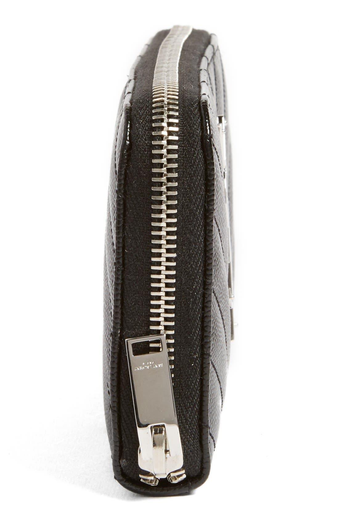 Alternate Image 5  - Saint Laurent 'Monogram' Zip Around Quilted Calfskin Leather Wallet