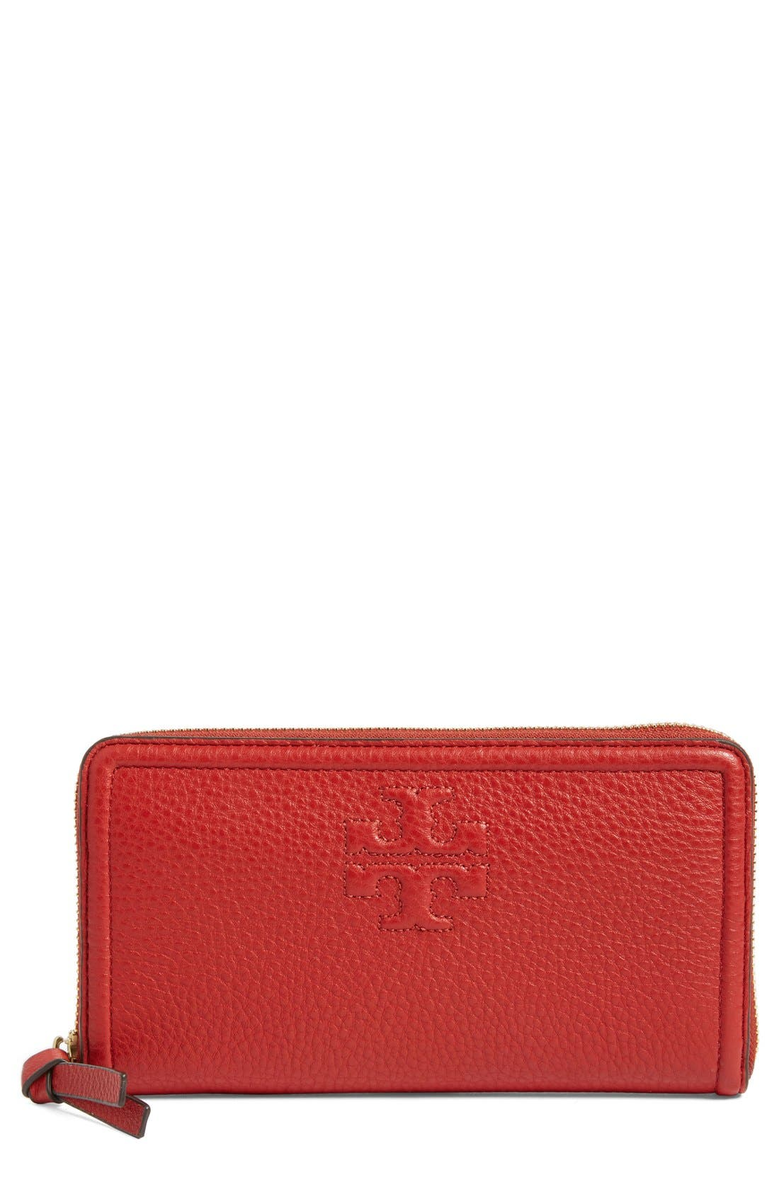 Main Image - Tory Burch 'Thea' Zip Leather Continental Wallet