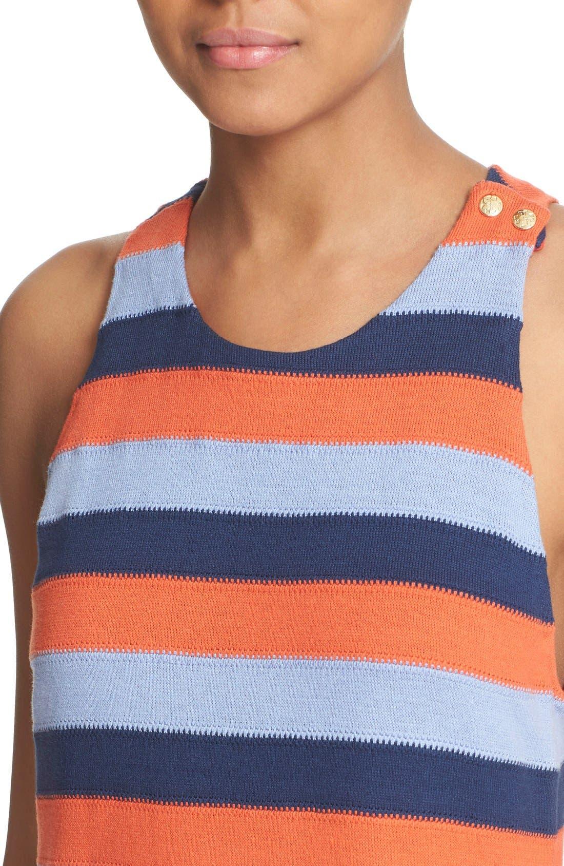 Alternate Image 4  - Tory Burch 'Ariana' Fringe Hem Stripe Tank Dress