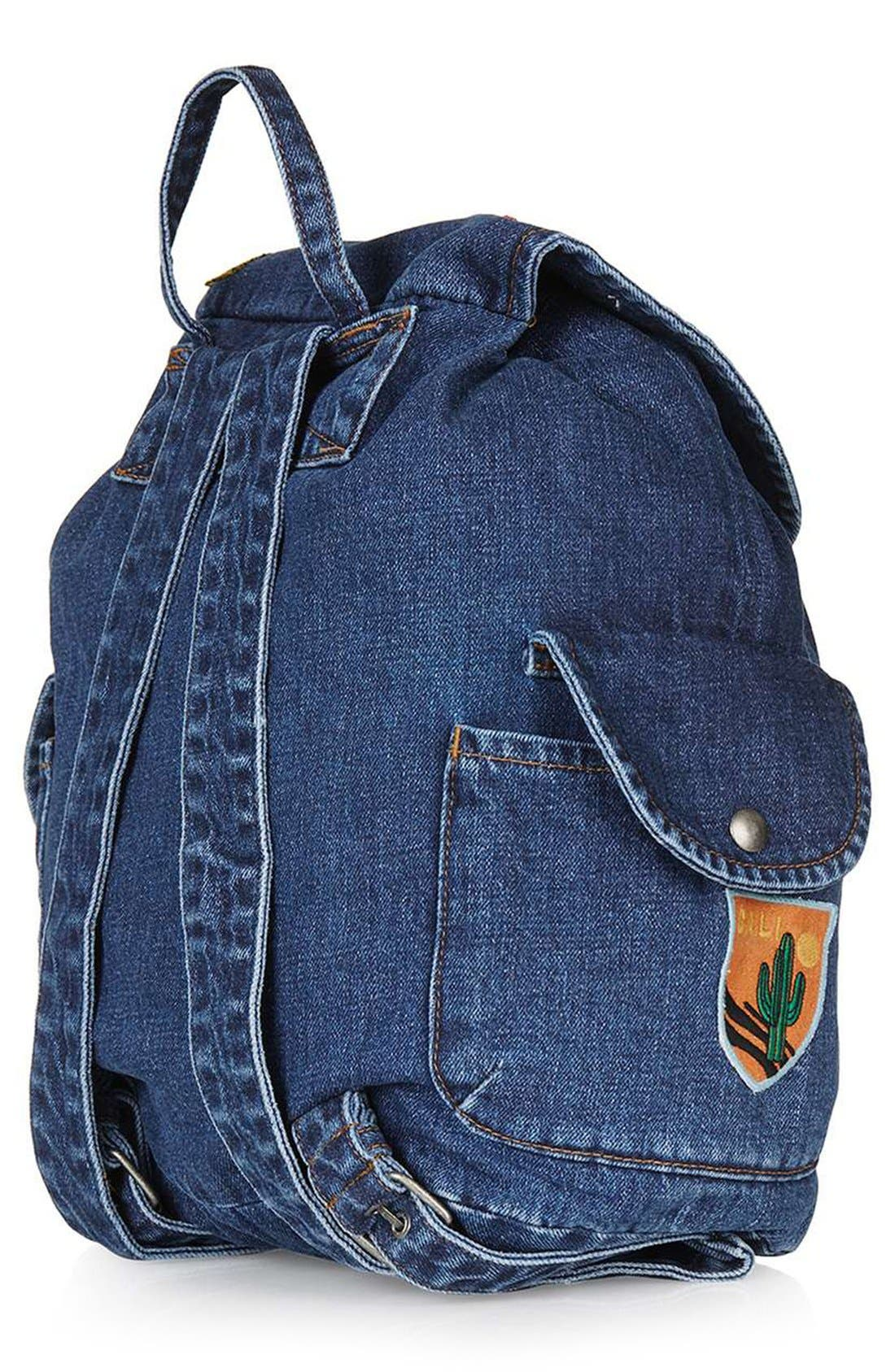 Alternate Image 3  - Topshop Badge Denim Backpack