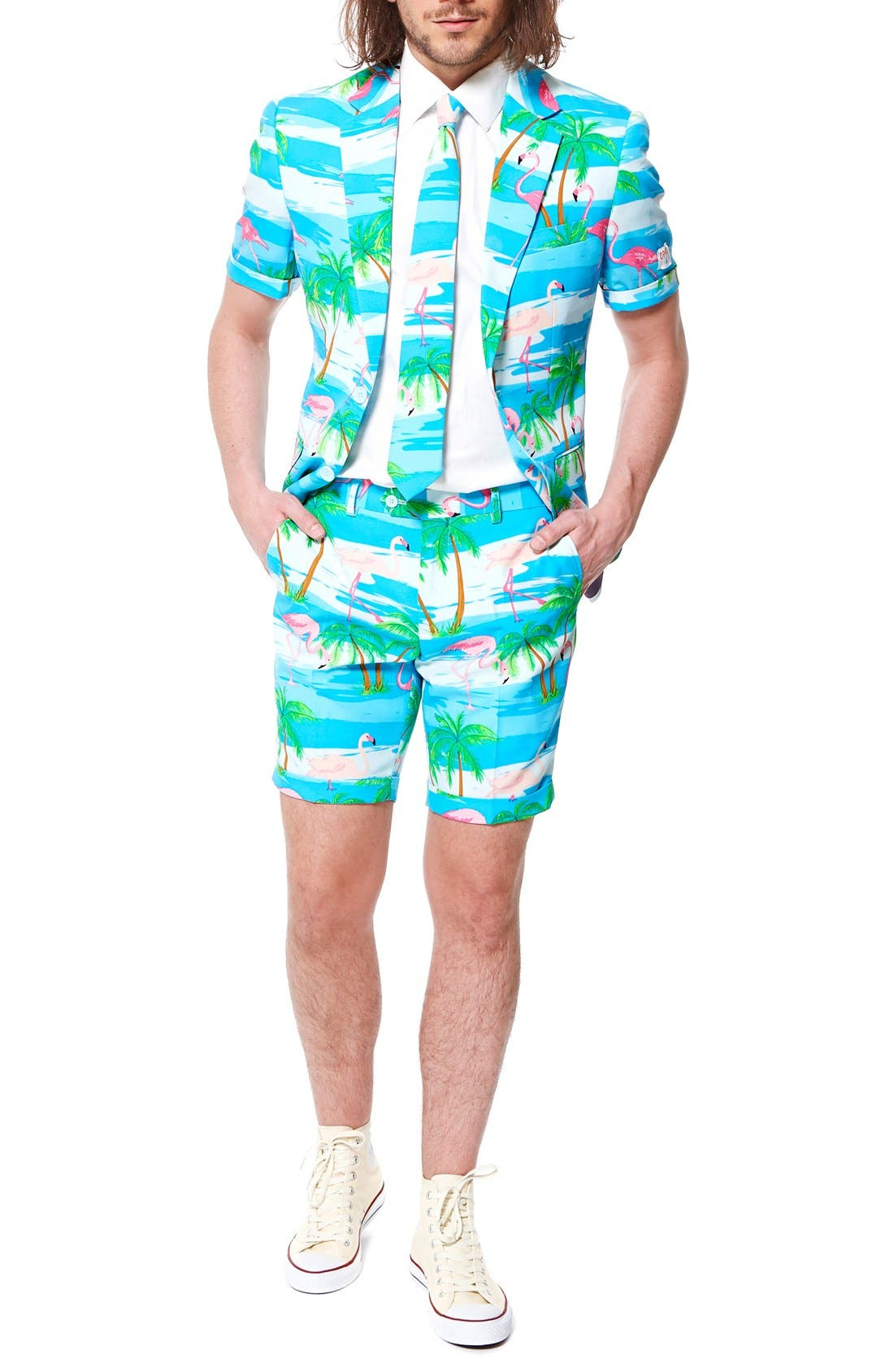 OppoSuits 'Flaminguy - Summer' Trim Fit Two-Piece Short Suit with Tie