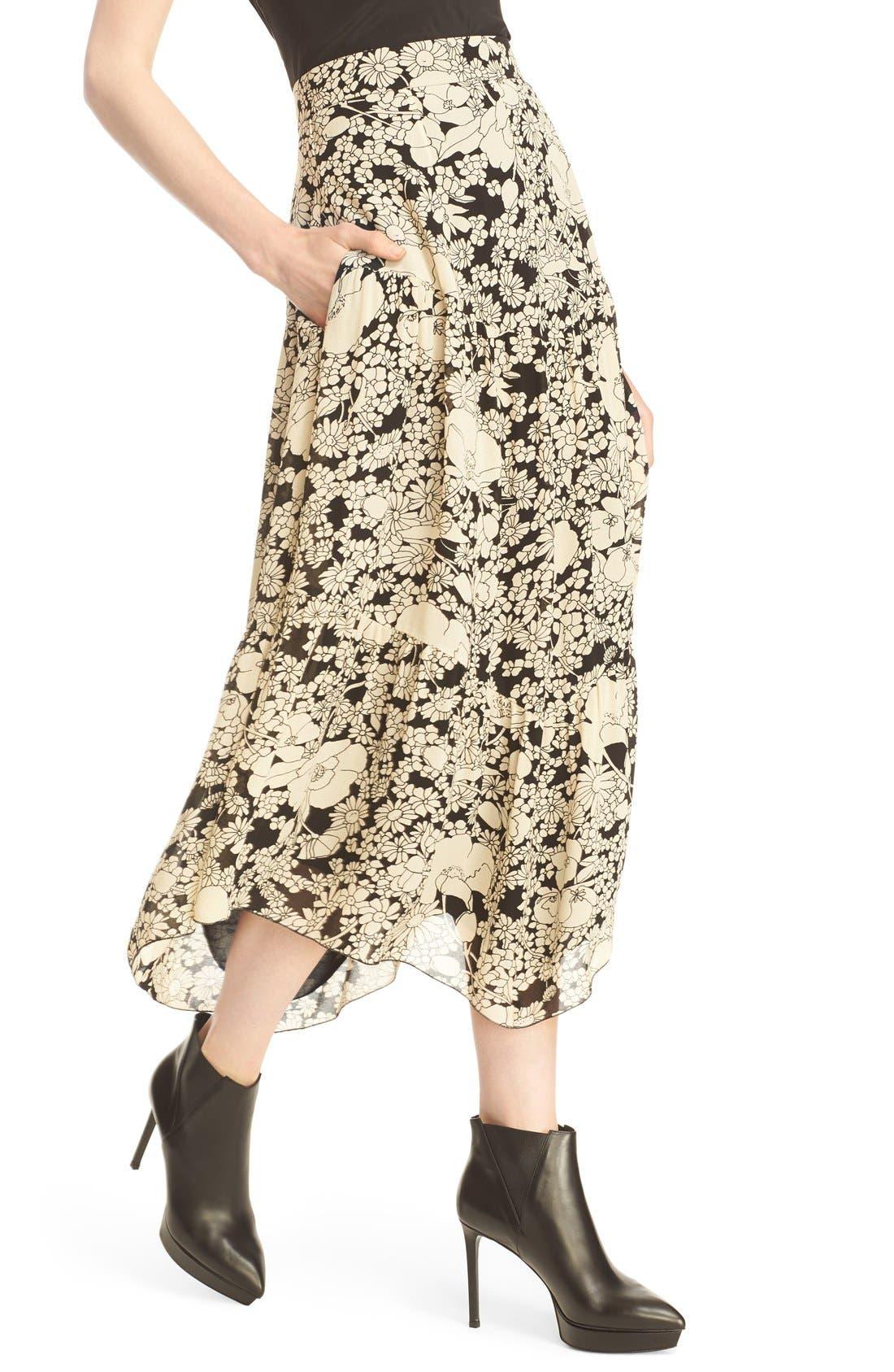 Alternate Image 5  - Saint Laurent Floral Print Crepe Midi Skirt