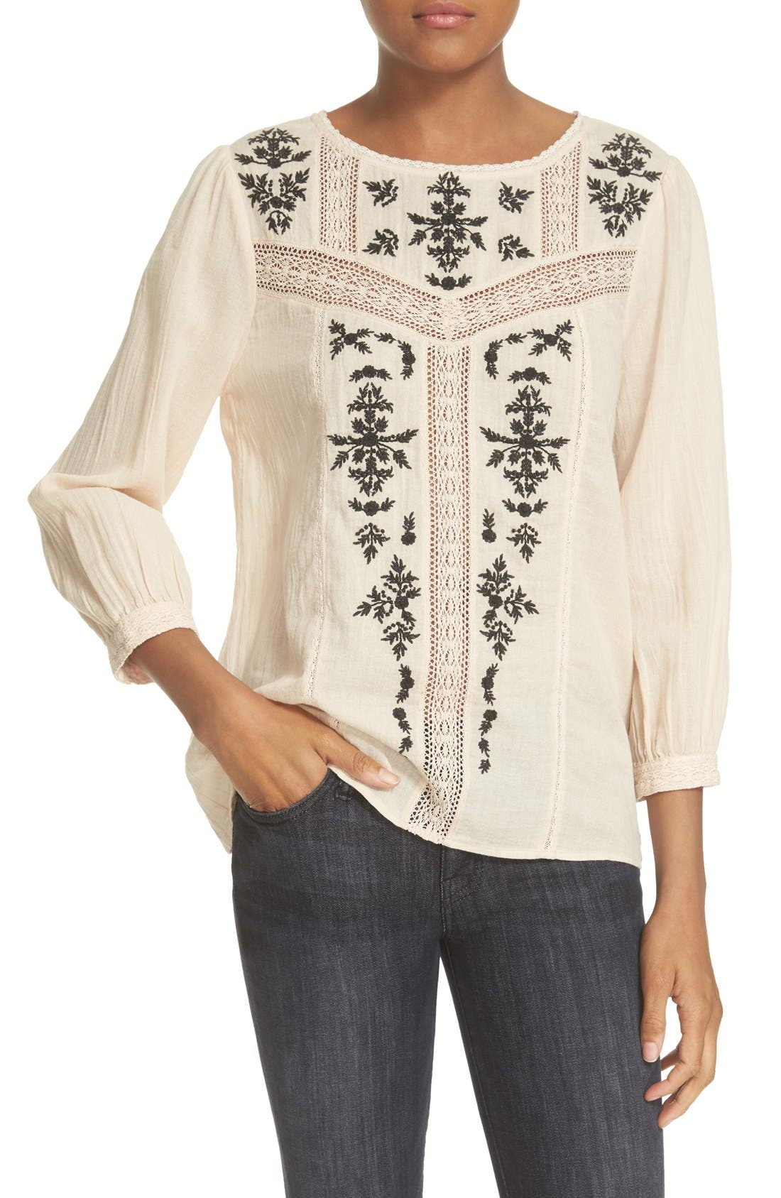 Main Image - Joie 'Oakes' Embroidered Cotton Blouse
