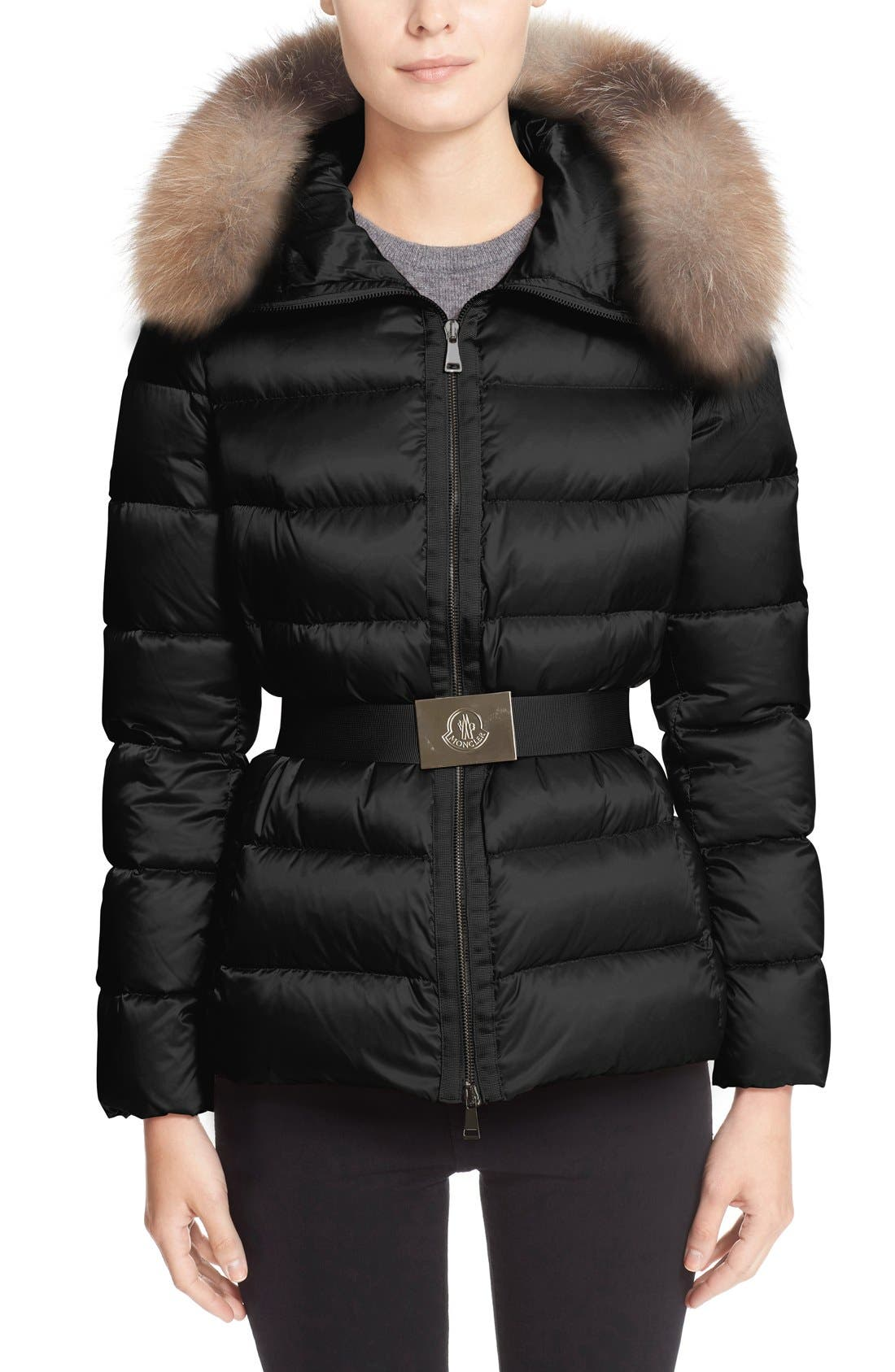 Main Image - Moncler 'Tatie' Belted Down Puffer Coat with Removable Genuine Fox Fur Trim