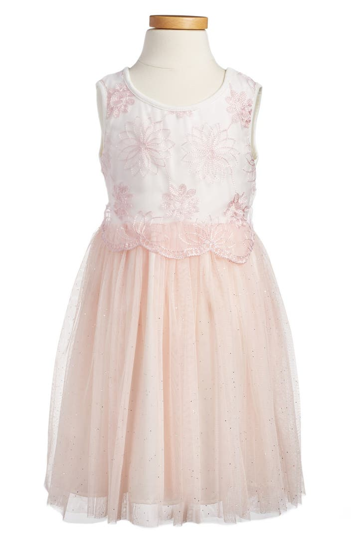 Popatu Embroidered Tulle Dress Toddler Girls Little