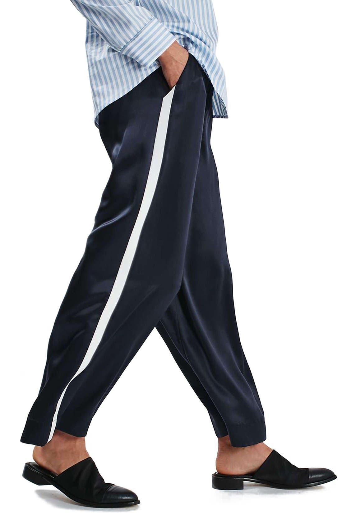 Alternate Image 4  - Topshop Boutique Stripe Wide Leg Silk Pants