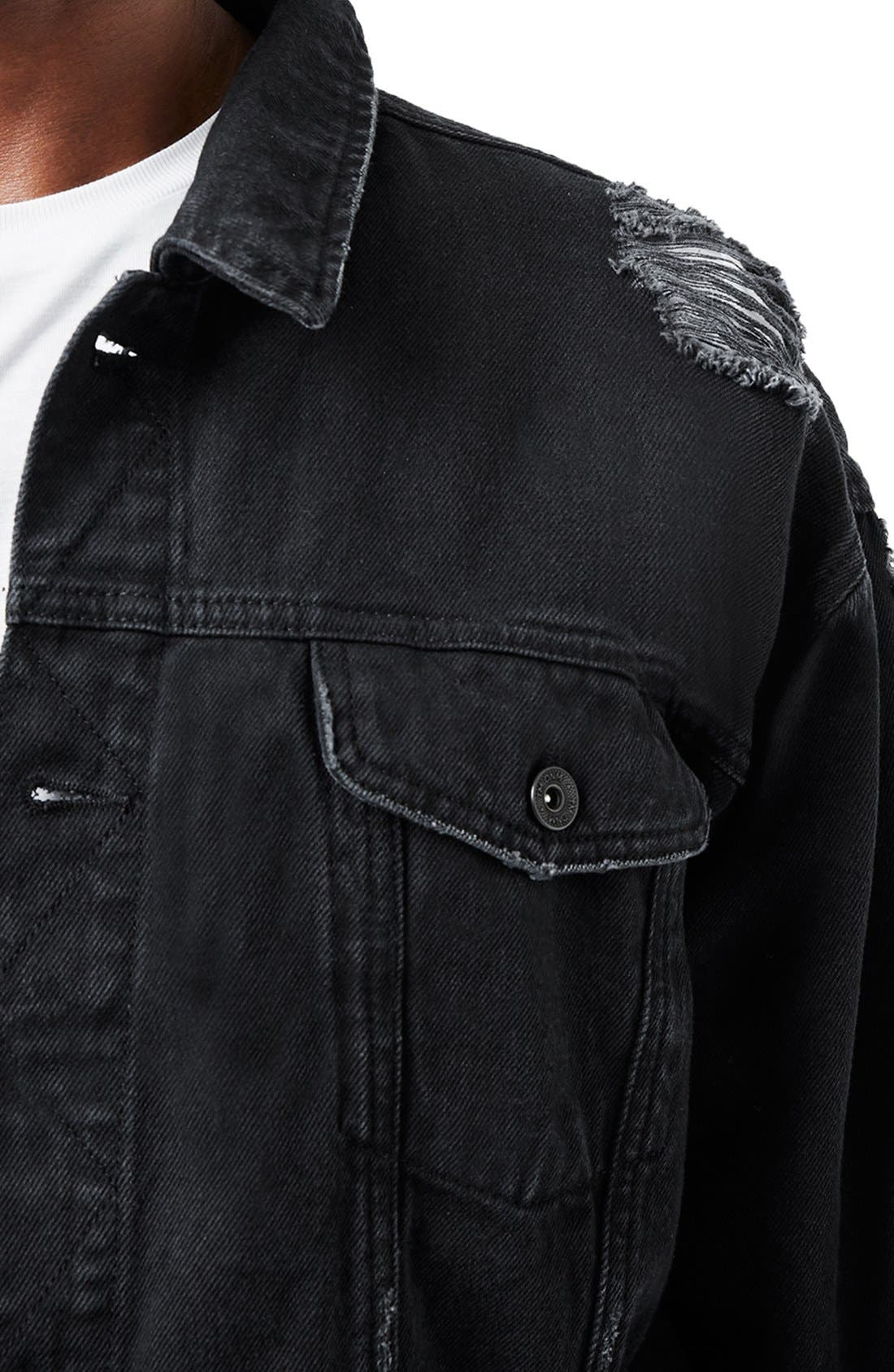 Alternate Image 4  - Topman AAA Collection Ripped Denim Jacket
