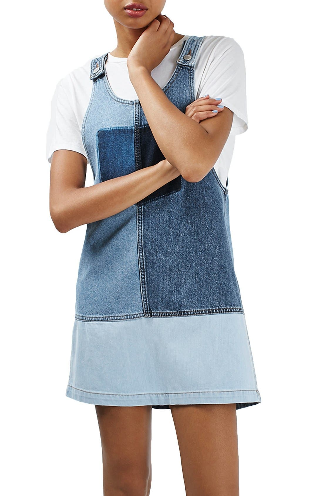Alternate Image 3  - Topshop Moto Patchwork Pinafore Dress
