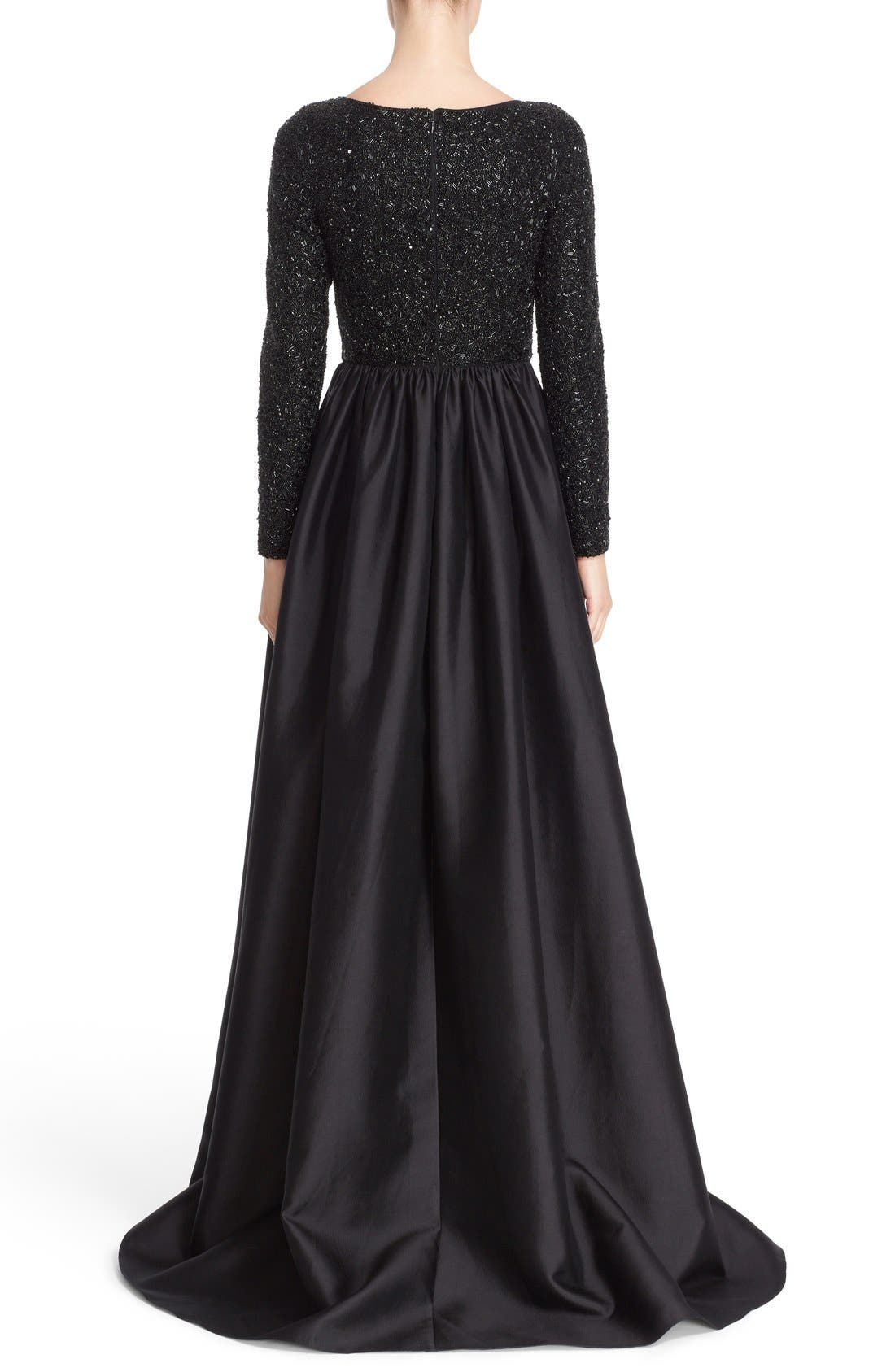 Alternate Image 2  - Badgley Mischka Couture Embellished Bodice Long Sleeve Gown