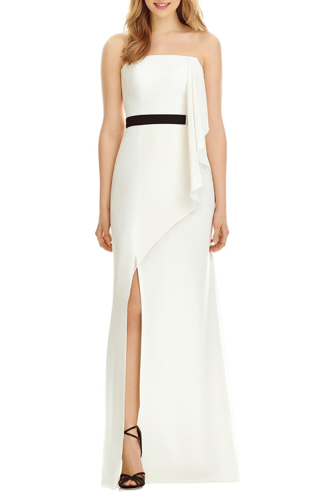 SOCIAL BRIDESMAIDS Strapless Georgette Drape Front Maxi Dress