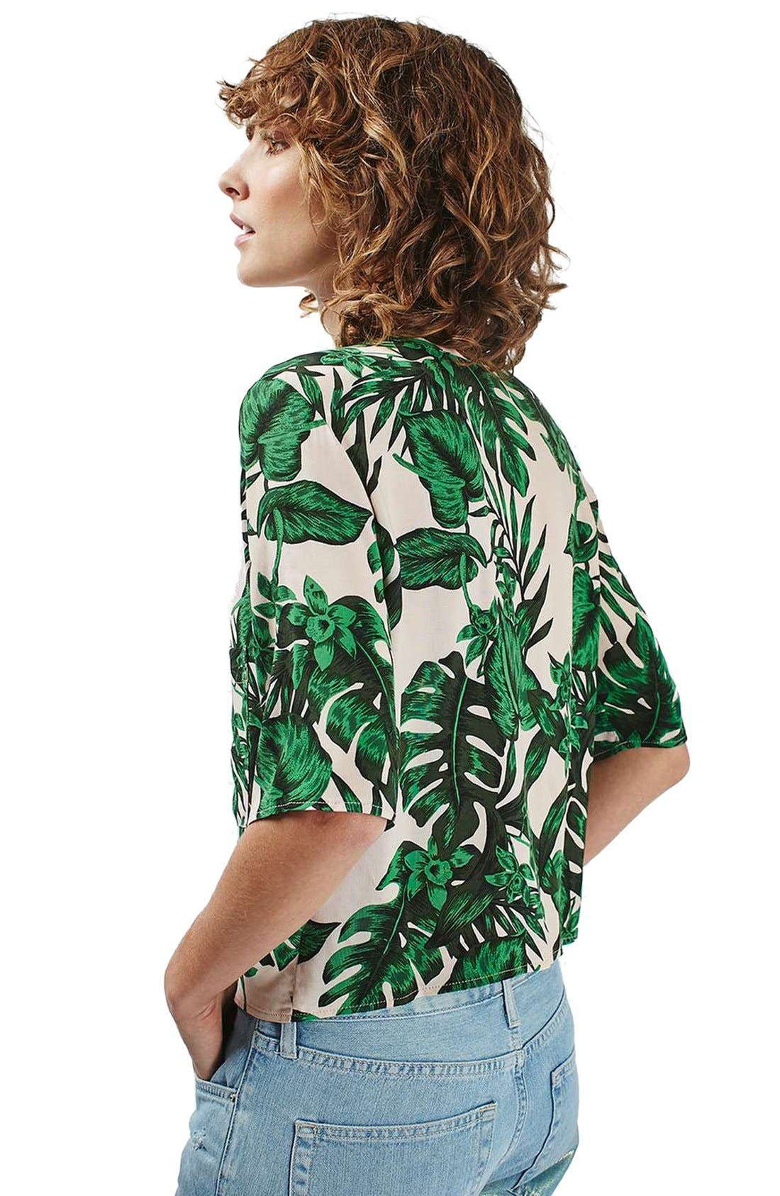 Alternate Image 3  - Topshop 'Holly' Tropical Print Short Sleeve Shirt