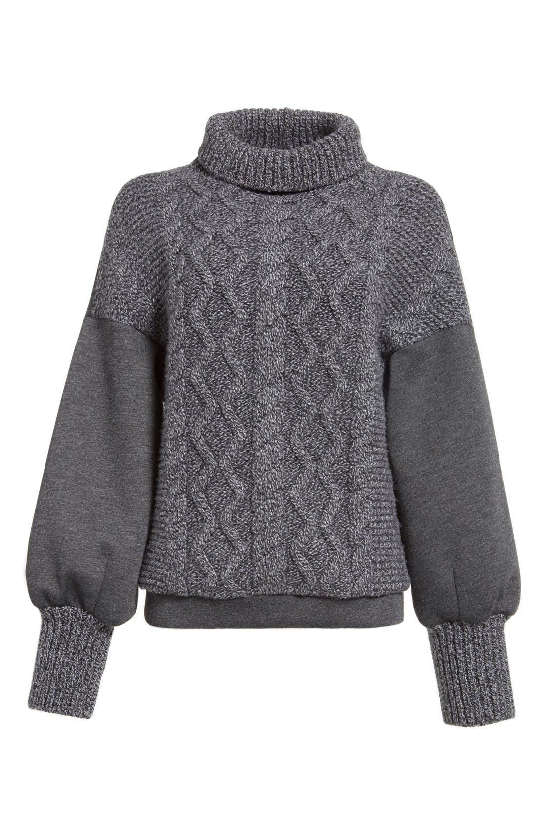 Alternate Image 4  - Tomas Maier Cable Knit & Scuba Fleece Turtleneck