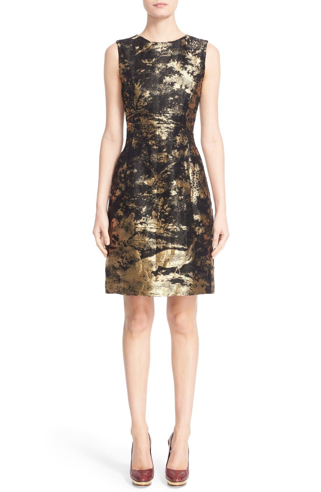 Alternate Image 1  - Oscar de la Renta Peacock Jacquard Sleeveless Sheath Dress