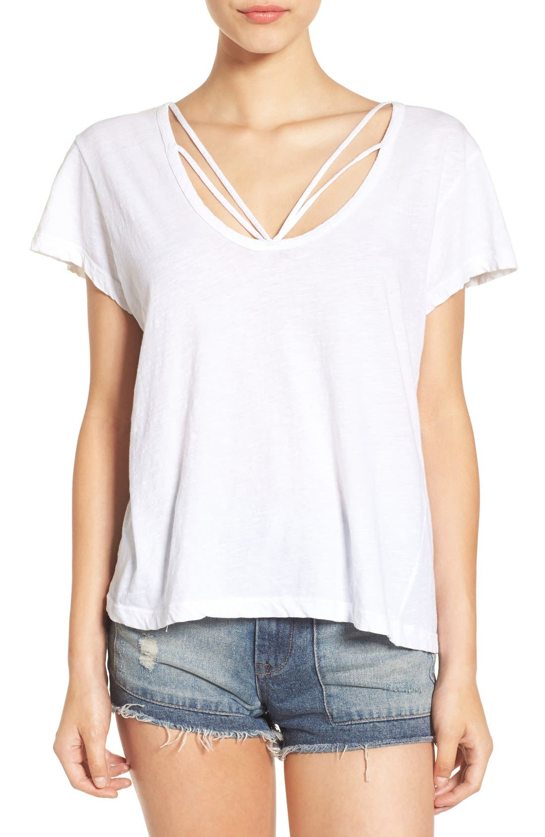 Alternate Image 1 Selected - LNA Strappy Scoop Neck Tee