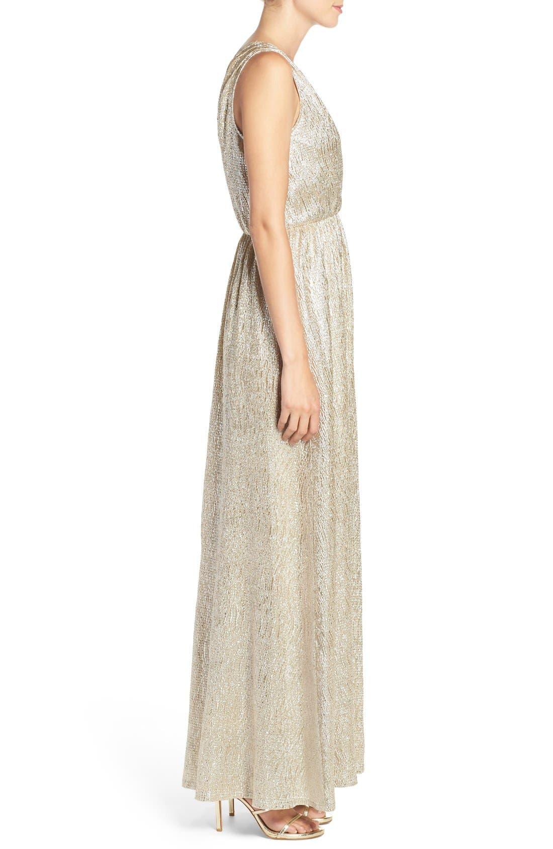 Alternate Image 4  - Lulus Surplice V-Neck Sleeveless Shimmer Gown